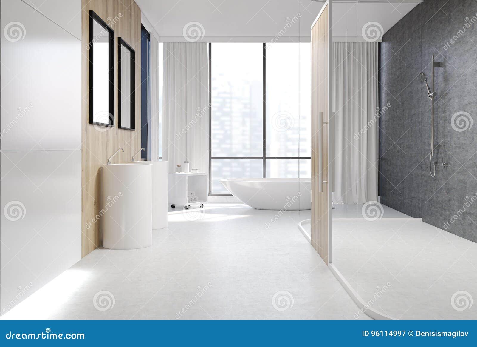 White And Wooden Bathroom, Shower Stock Illustration - Illustration ...