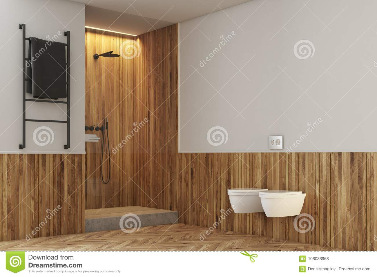 White And Wooden Bathroom, Toilets And Shower Stock Illustration ...