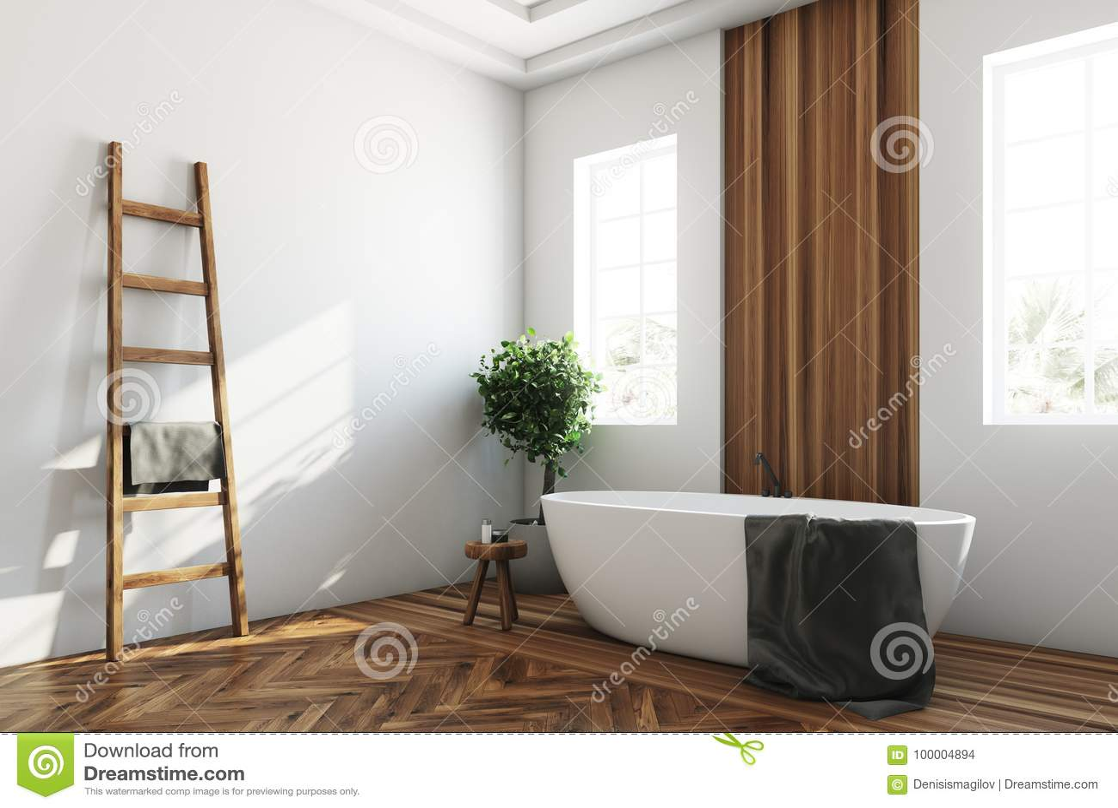 White And Wooden Bathroom, White Tub Corner Stock Illustration ...