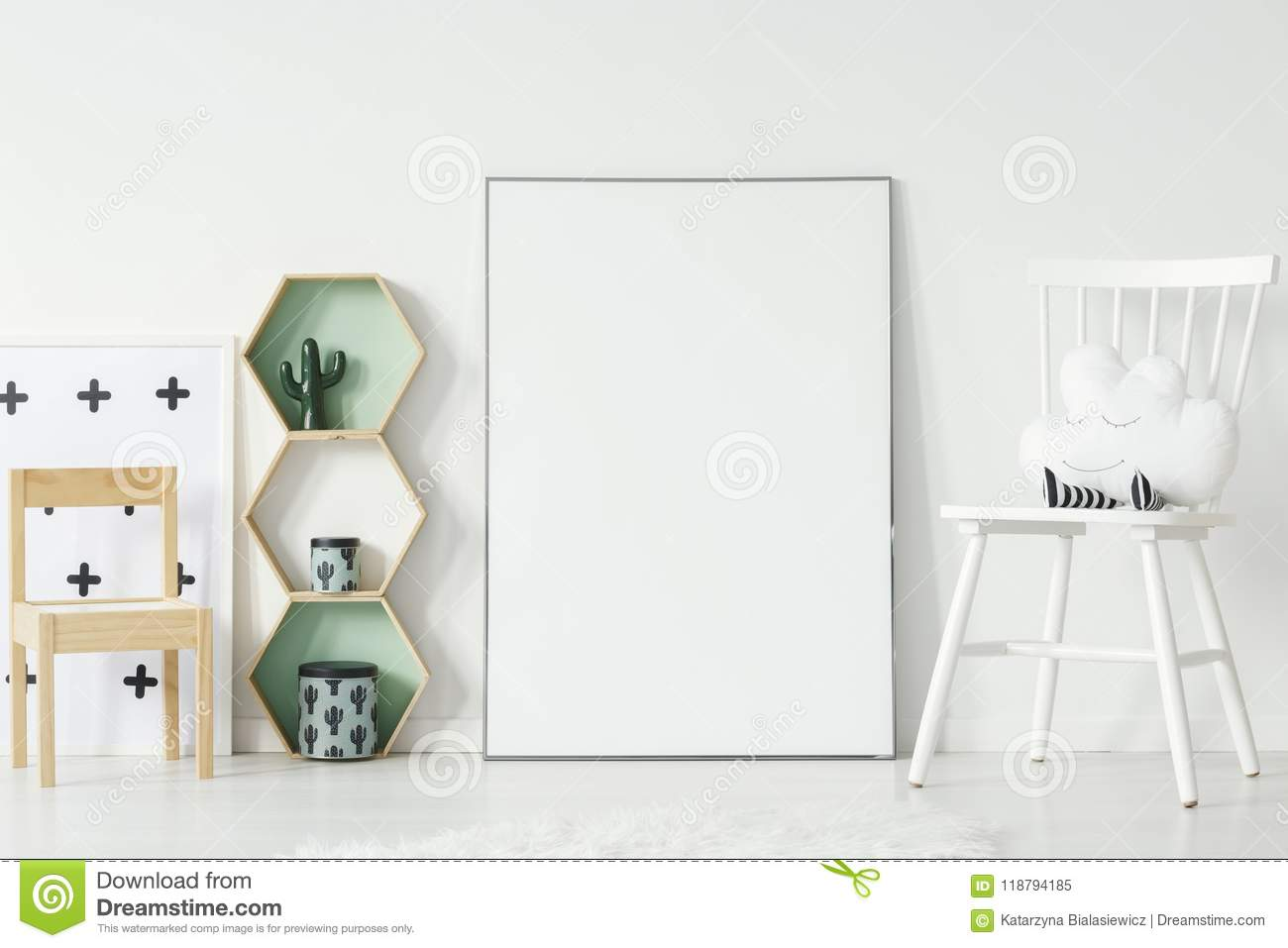 White and wooden chair in kid`s room interior with mockup of emp