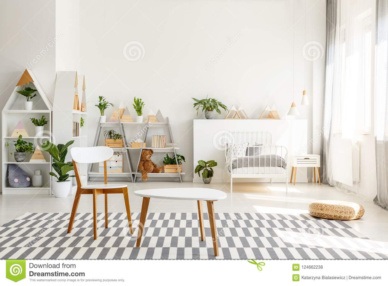 White Wooden Chair And Table Set, Green Plants In A ...
