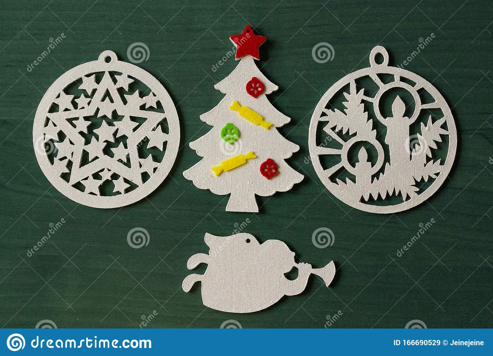 White Wooden Christmas Tree Decorations On Green Background Stock Image Image Of Year Christmas 166690529