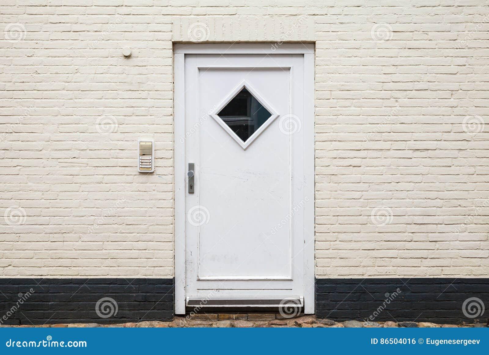 White Wood Door Texture white wooden door in brick wall, texture stock photo - image: 86504016