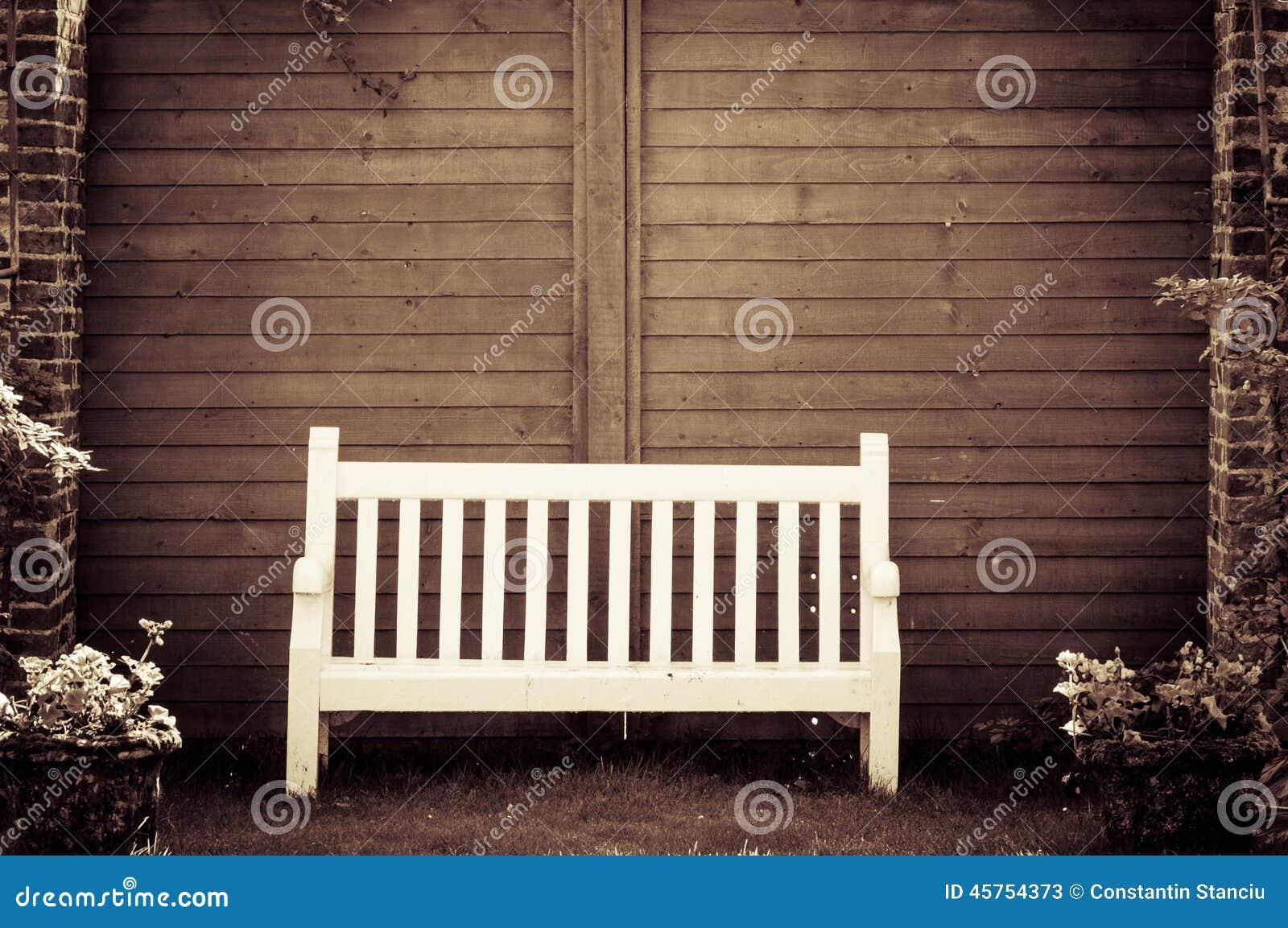 White Wooden Garden Bench In English Garden Stock Photo Image