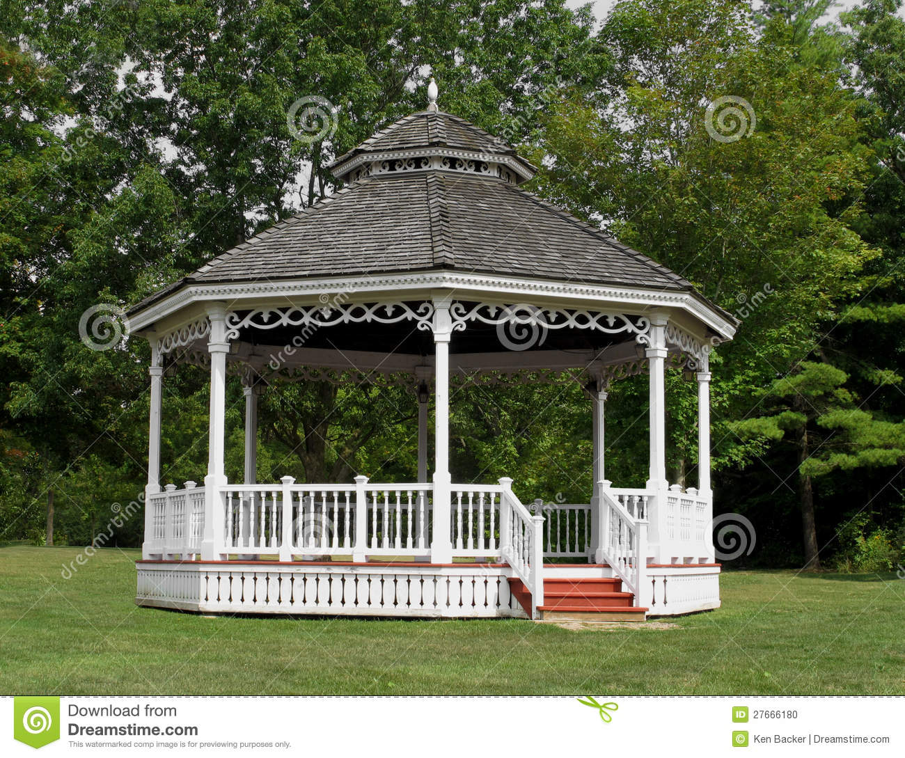White Wooden Gazebo Bandstand In Park Stock Photo Image