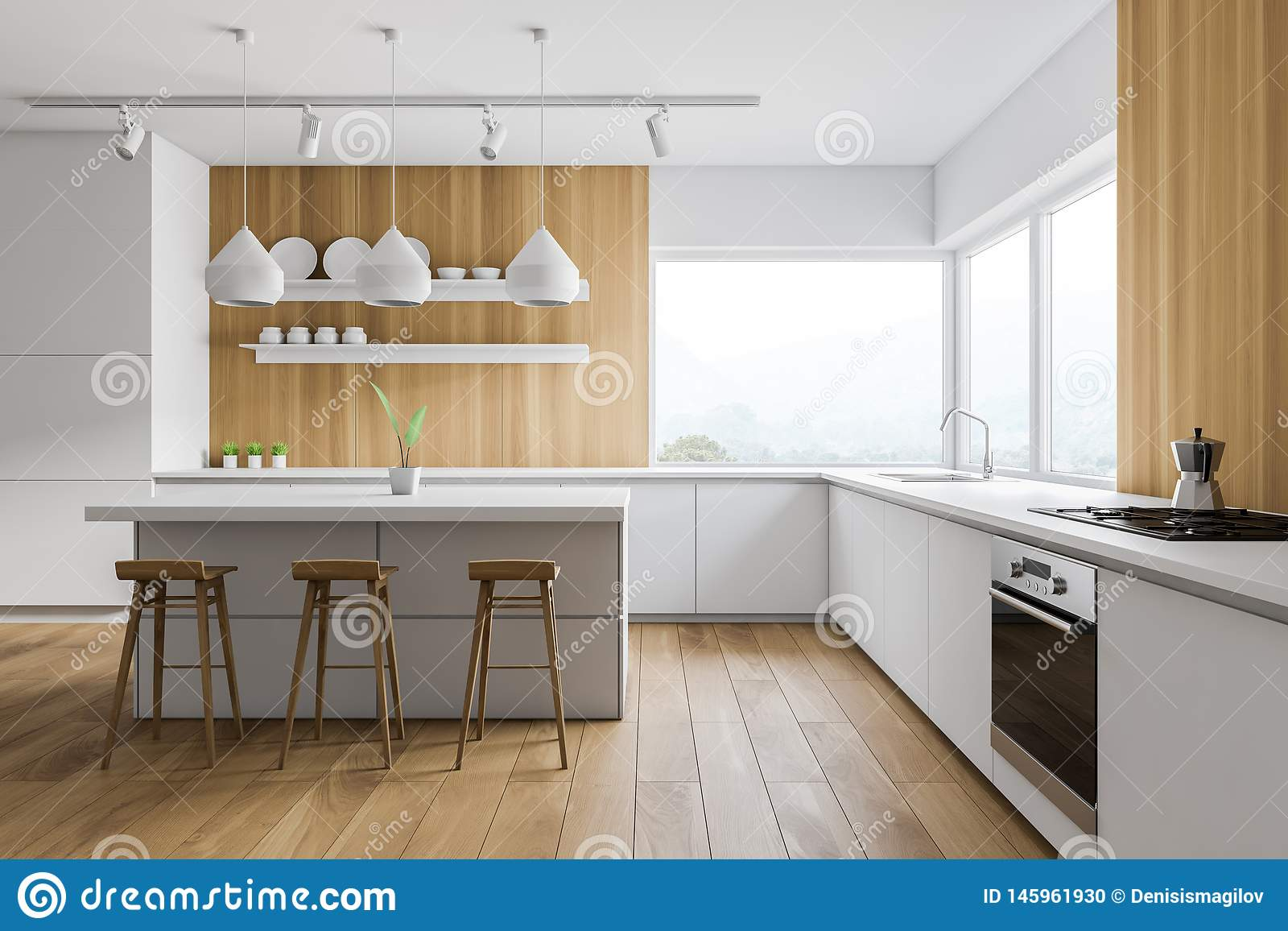 Enjoyable White And Wooden Kitchen Bar And Stools Stock Illustration Alphanode Cool Chair Designs And Ideas Alphanodeonline