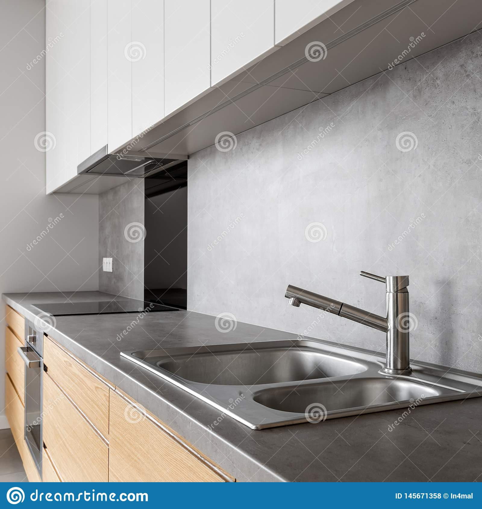 White And Wooden Kitchen Cabinets Stock Photo Image Of Design Elegant 145671358