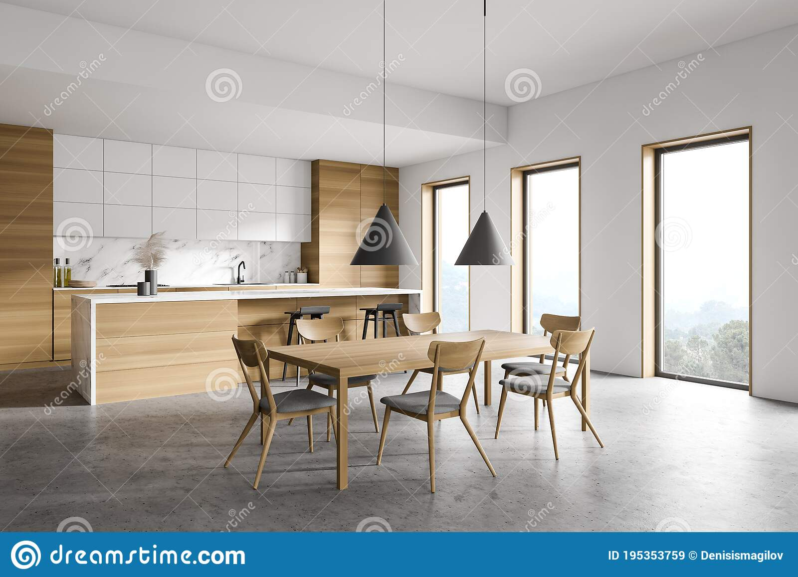 White And Wooden Kitchen Corner With Bar And Table Stock Illustration Illustration Of Glass Interior 195353759