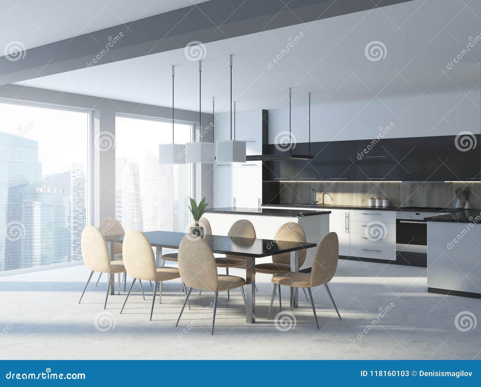 White And Wooden Kitchen Corner, Table Stock Illustration ...