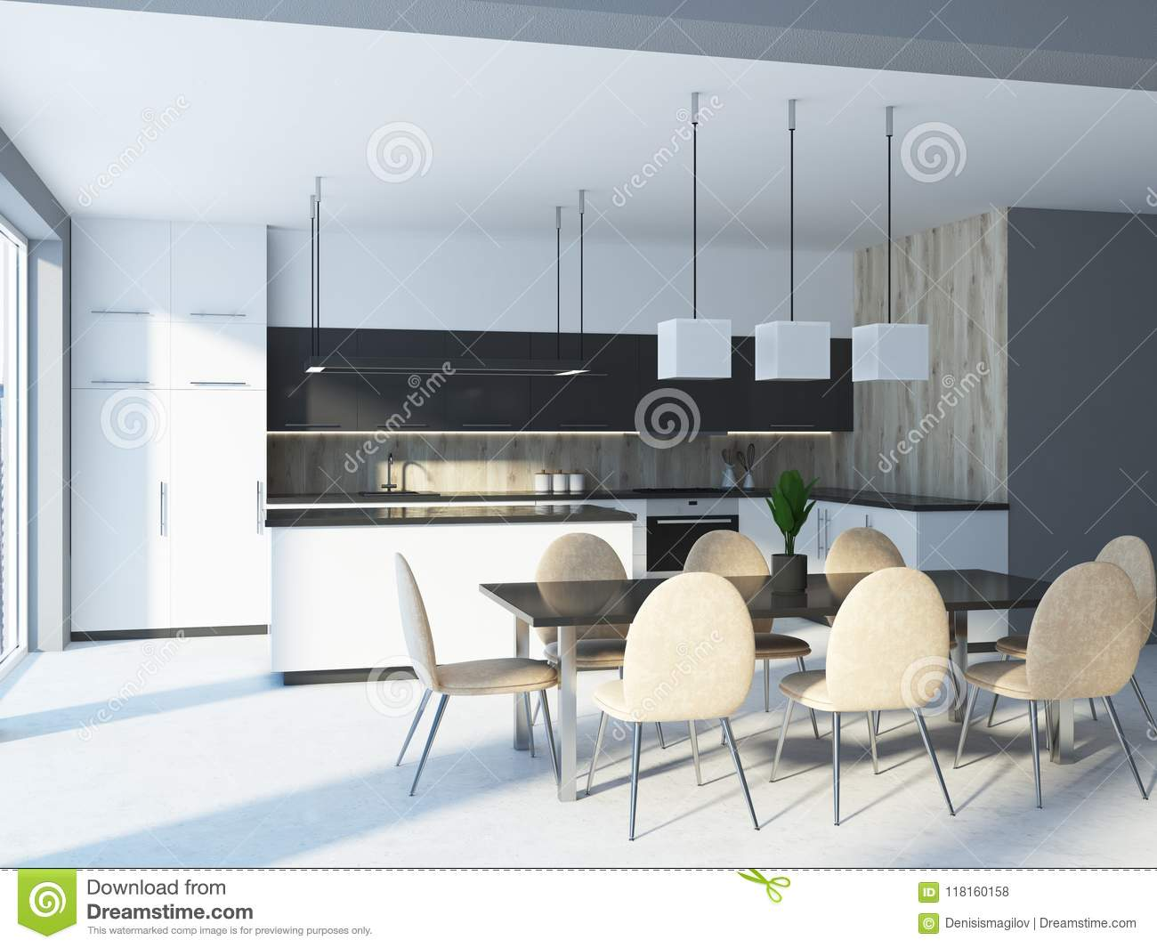 White And Wooden Kitchen, Table, Side View Stock Illustration ...
