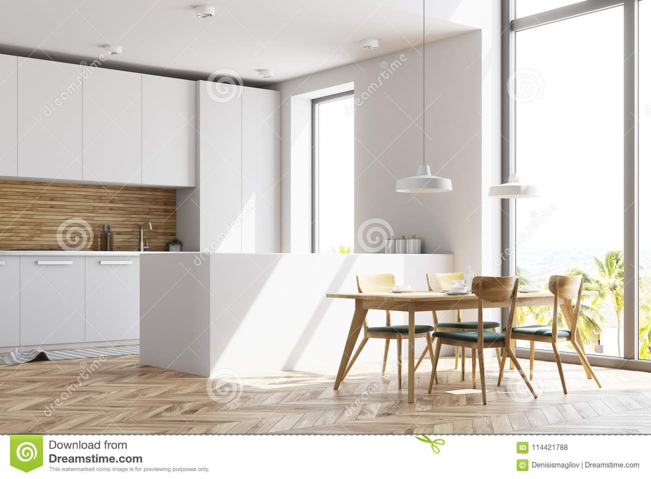 Incredible White And Wooden Kitchen With A Table Side View Stock Pabps2019 Chair Design Images Pabps2019Com