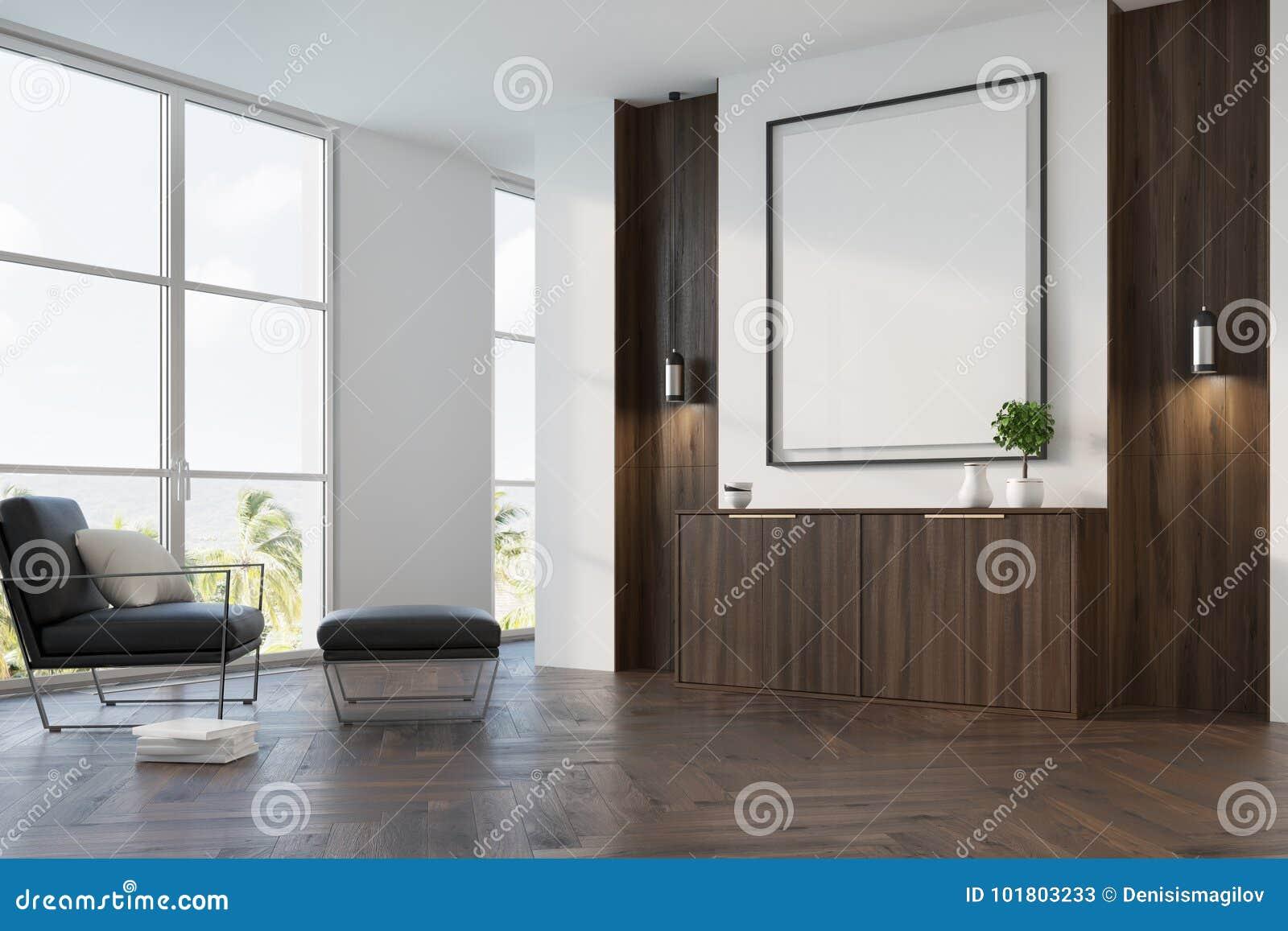 White, Wooden Living Room, Armchair, Poster Side Stock Illustration ...