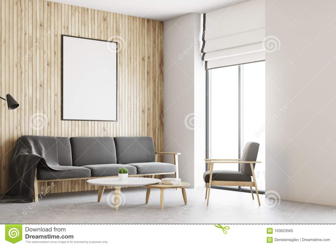 White And Wooden Living Room Interior, Poster Side Stock ...