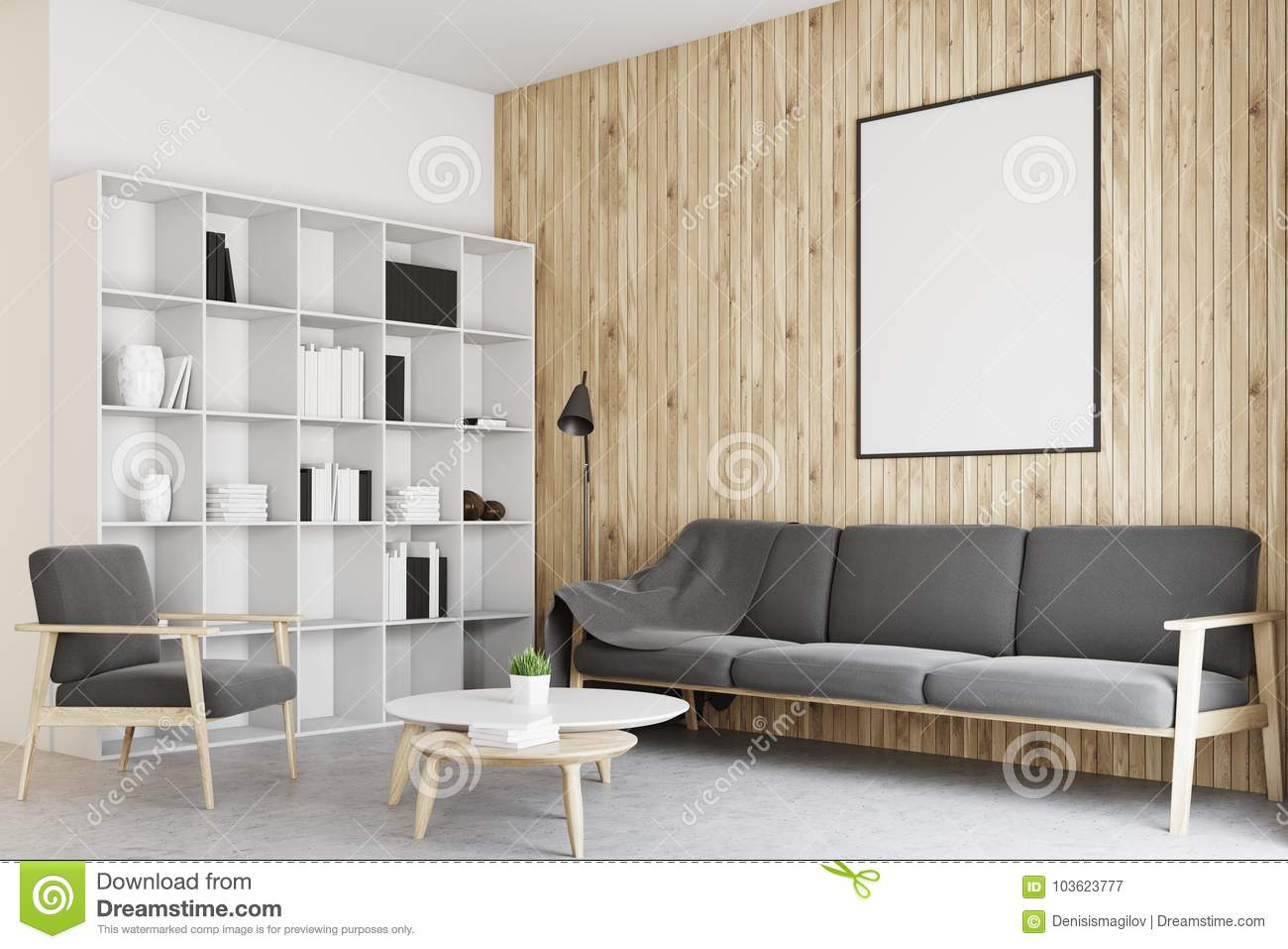 White And Wooden Living Room, Poster Concrete Stock Illustration ...