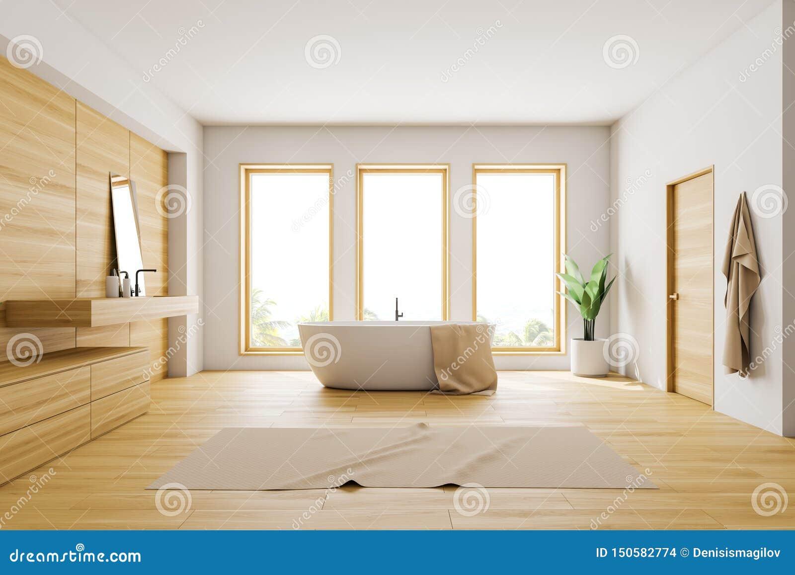 White And Wooden Loft Bathroom Interior Stock Illustration