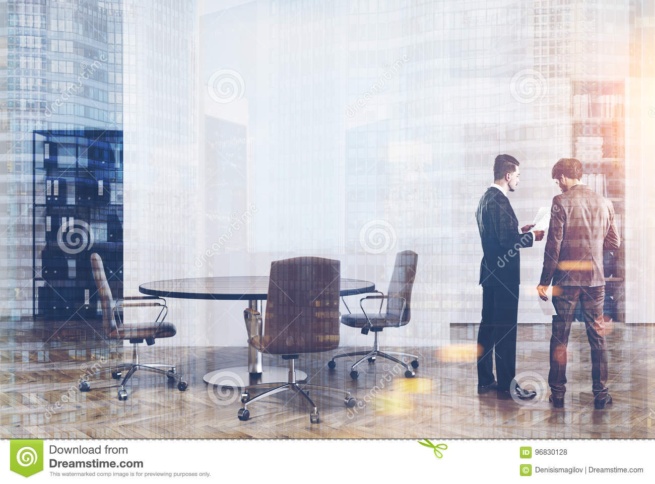 White And Wooden Office Bookcases Men Stock Illustration