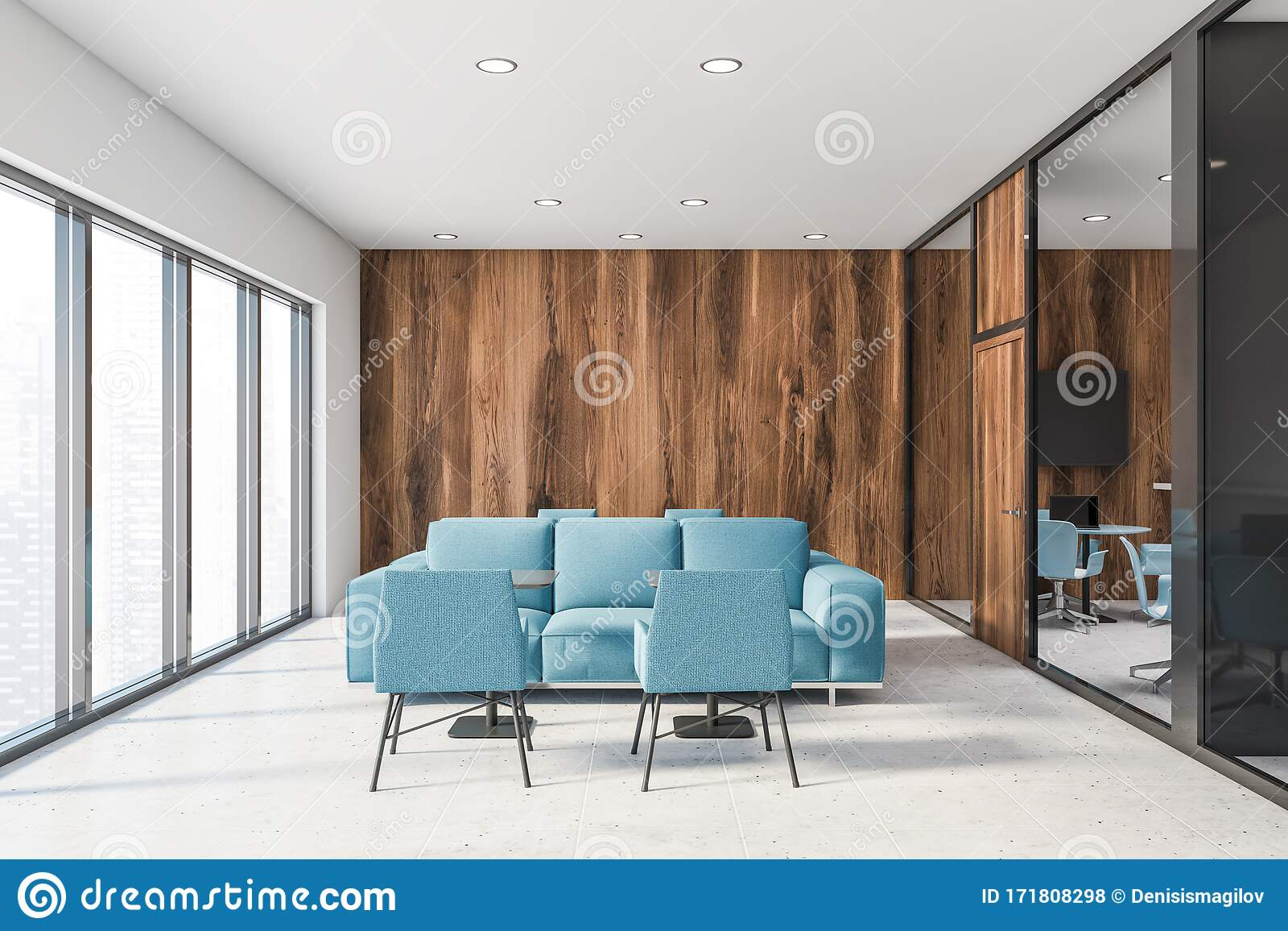White And Wooden Office Lounge Blue Sofas Stock Illustration Illustration Of Lounge Horizontal 171808298