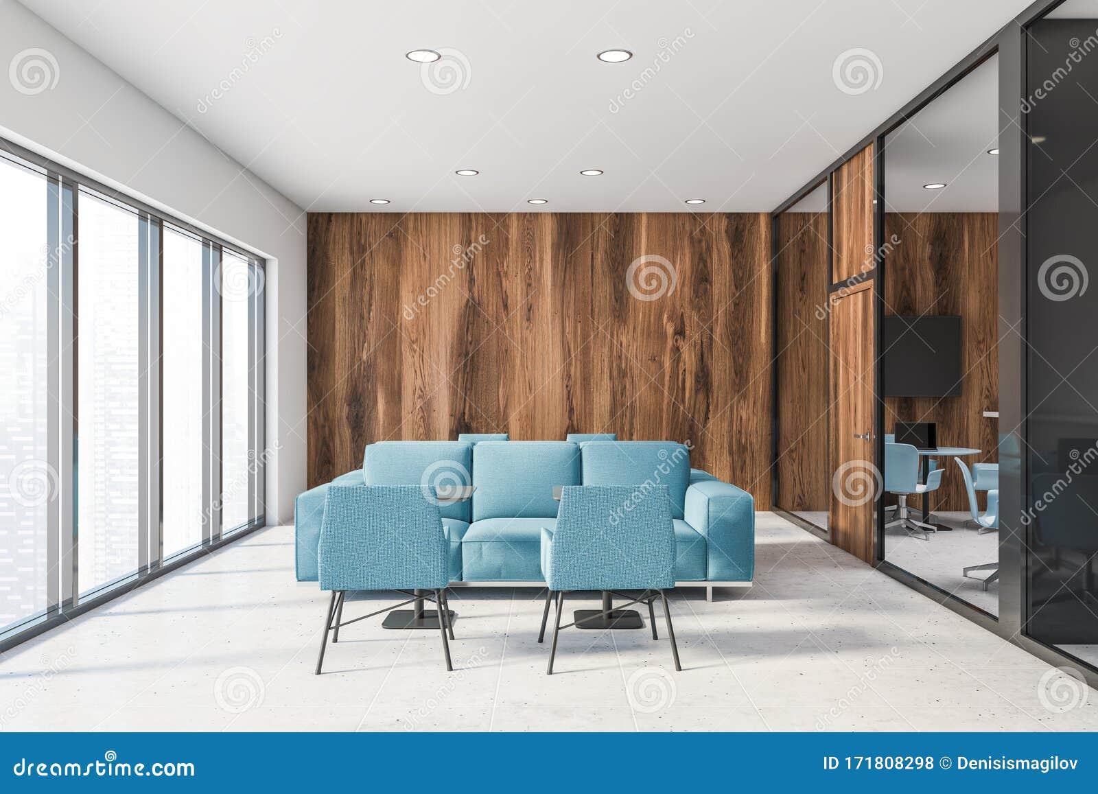 White And Wooden Office Lounge Blue Sofas Stock Illustration Illustration Of Lounge Horizontal 171808298