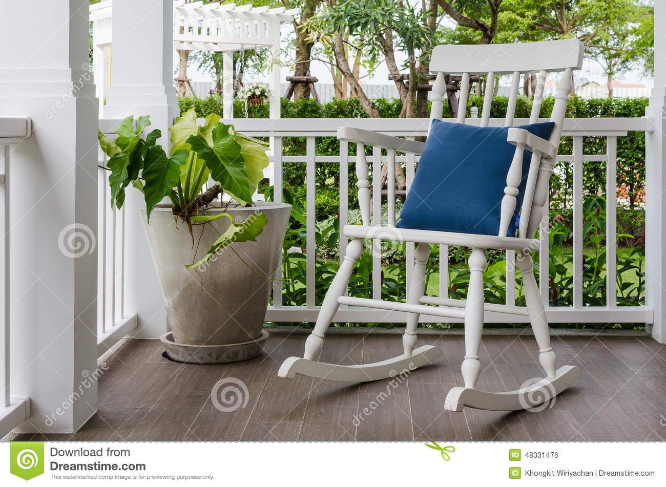 White Wooden Rocking Chair On Front Porch At Home Stock Photo - Image ...