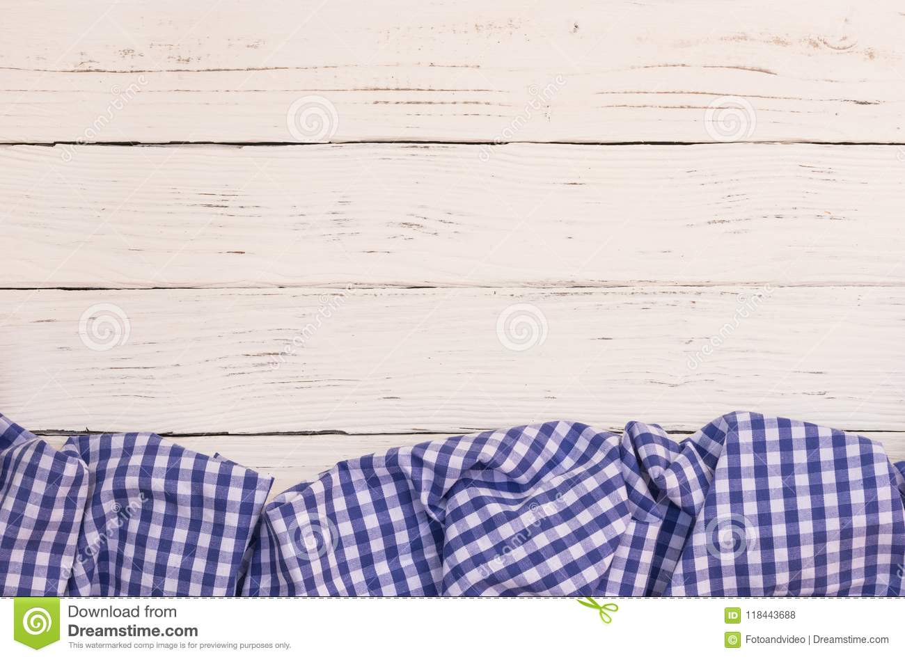 Download Menu Card Background With Blue Checked Tablecloth On White Wood  Table Background Stock Photo