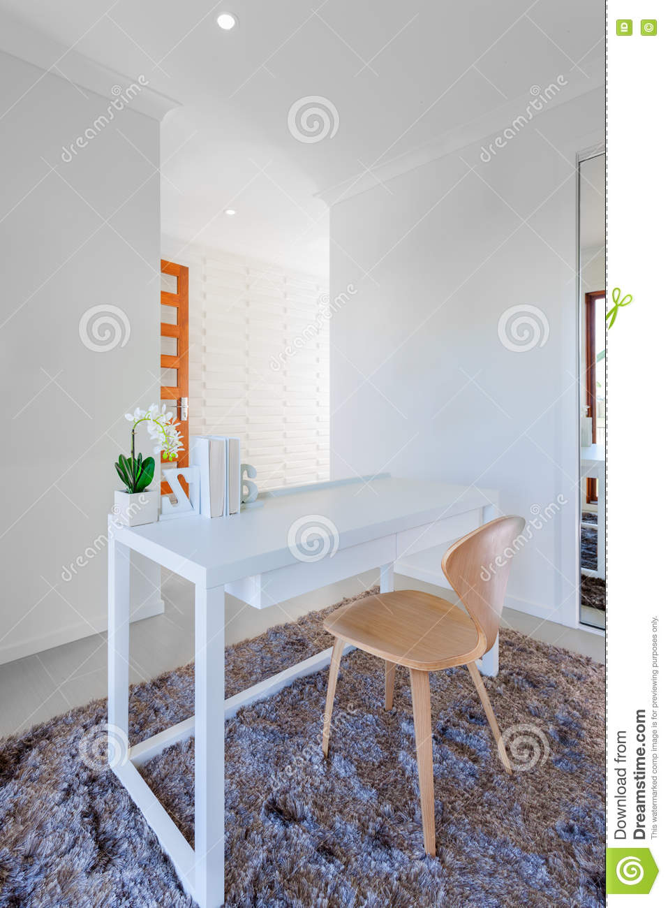 Download White Wooden Table And Light Wooden Chair In The Modern Room Stock Photo - Image of decoration, inside: 80486172