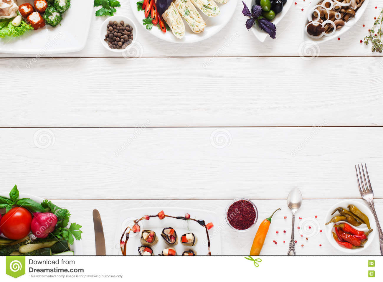 White wooden table with traditional food frame stock image