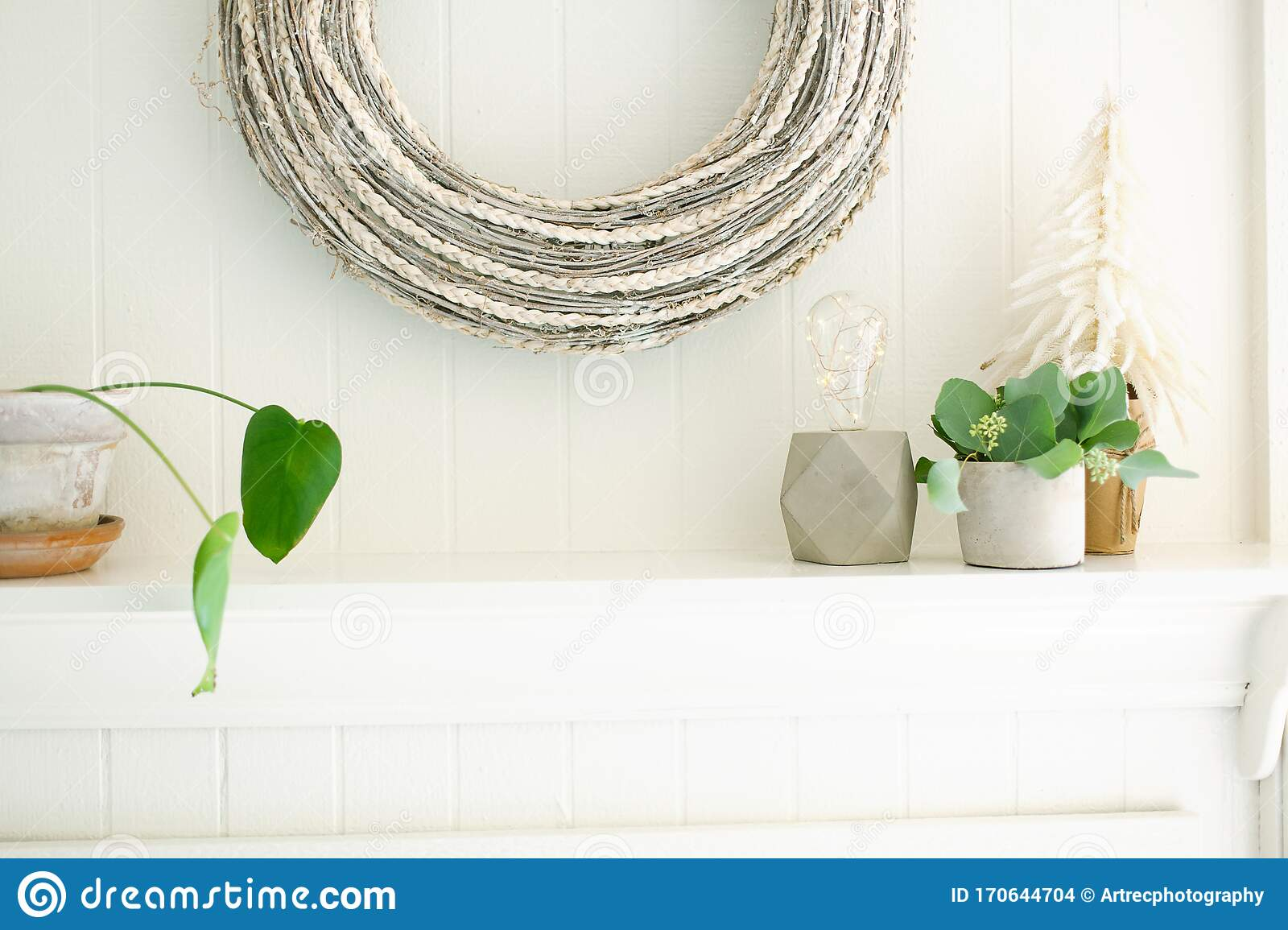 Christmas White Wreath With Plants, String Light Lamp And ...