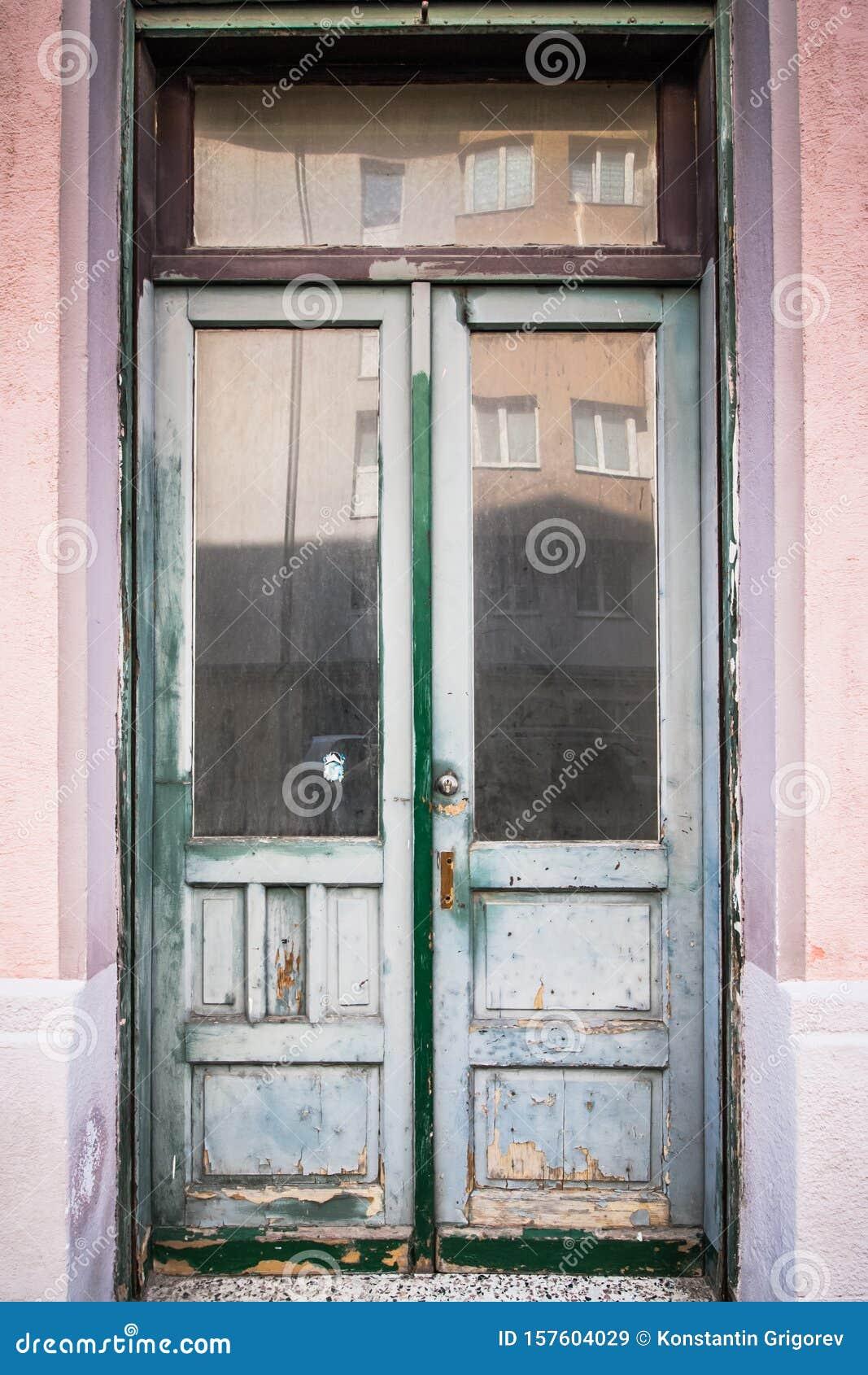 Wooden Door With Glass White Front Door In Old Abandoned Facade Weathered Double Wooden Door Stock Image Image Of Interior Keystone 157604029