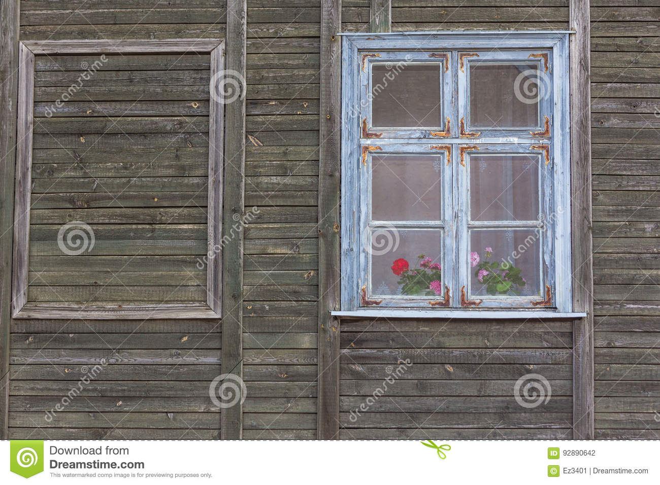 White Wooden Window Frame Stock Photo Image Of House 92890642
