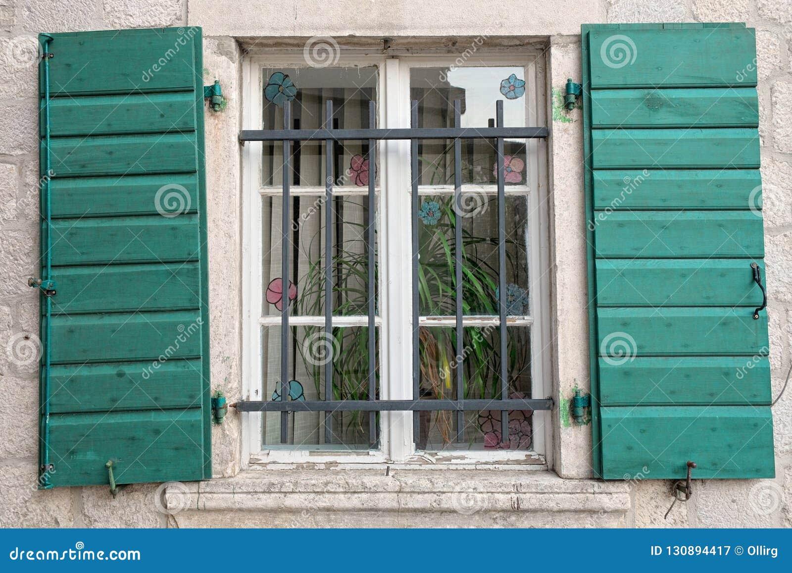 Window Shutters Open In Kotor Montenegro Montenegro Stock
