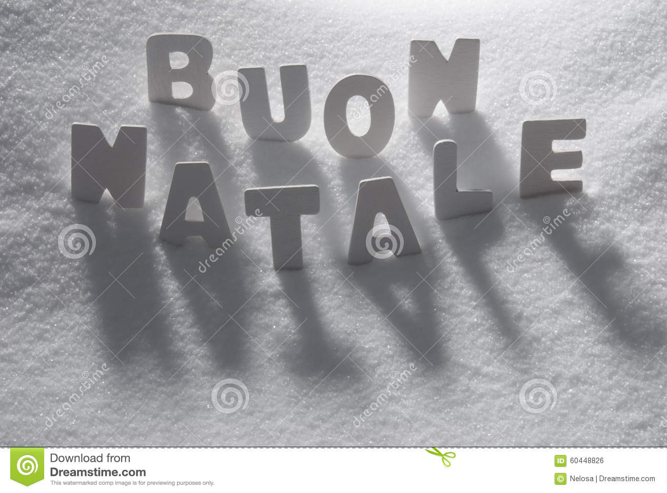 White Word Buon Natale Mean Merry Christmas On Snow Stock Photo ...