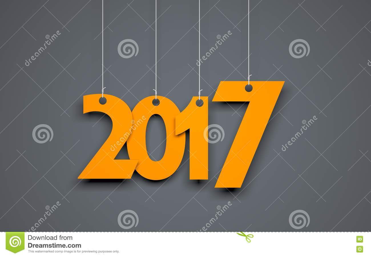 White Word 2017 On Gray Background. New Year Illustration ...