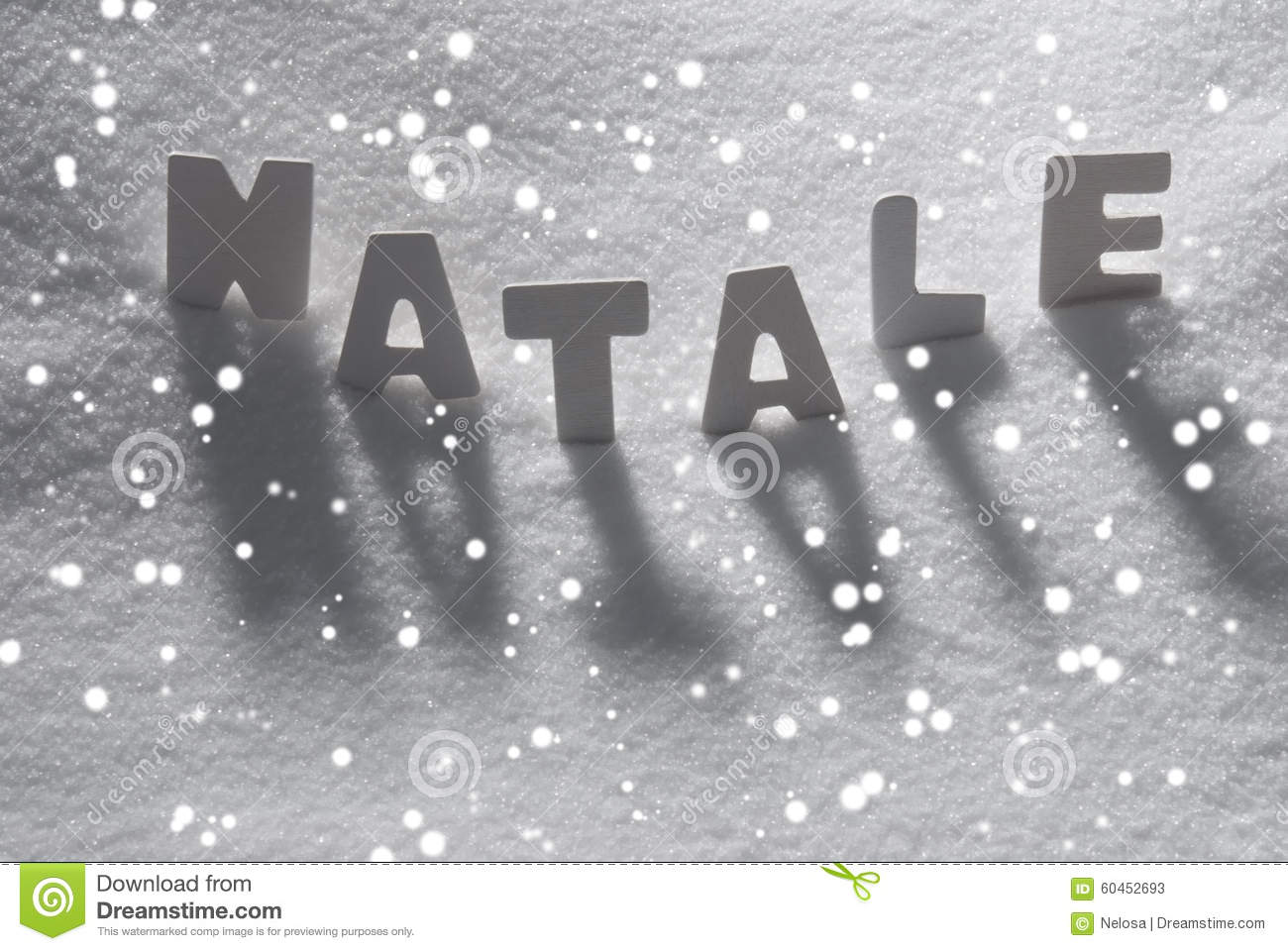 White Word Natale Mean Christmas On Snow, Snowflakes Stock Image ...