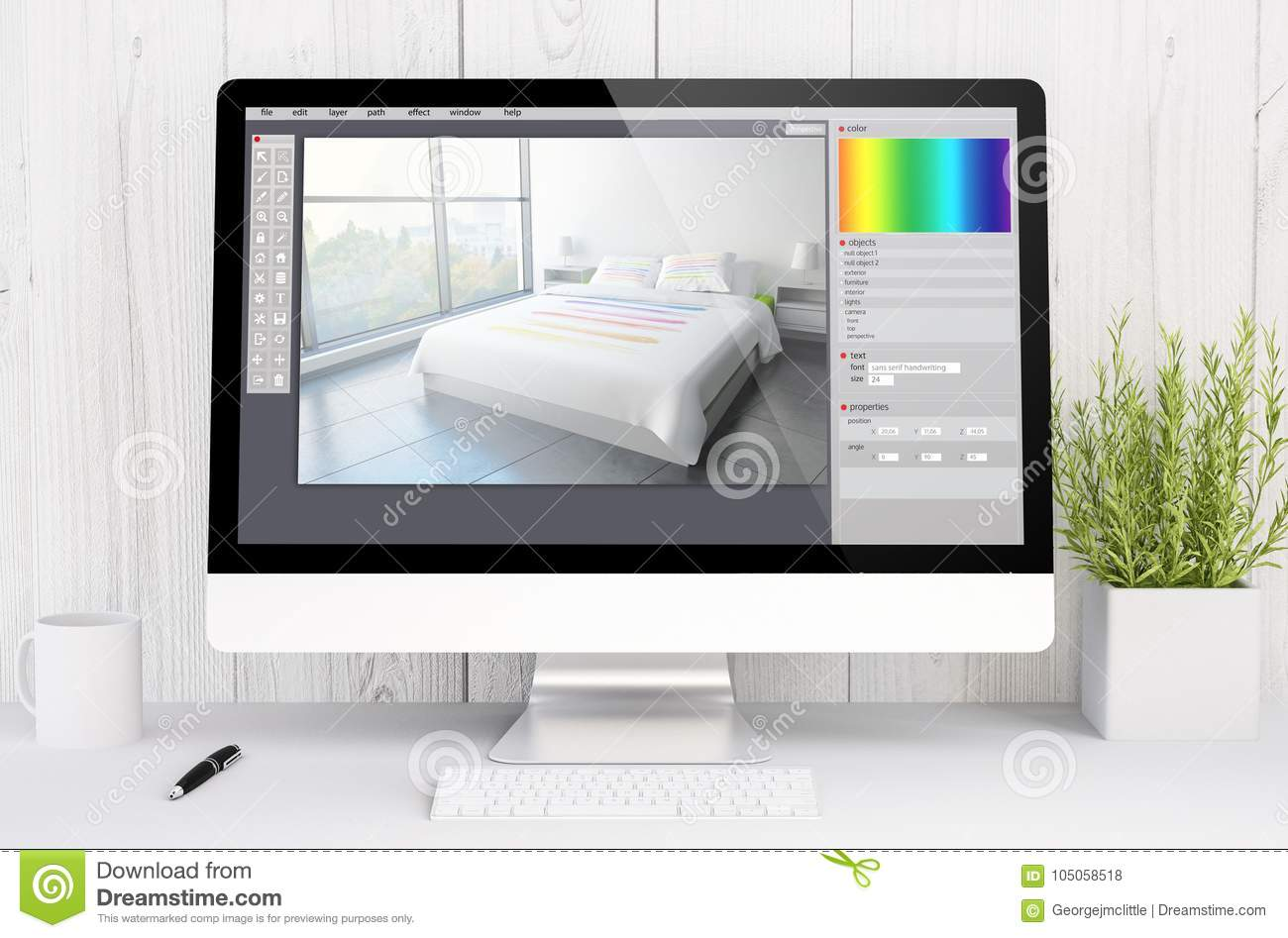 White Workspace With Computer Graphic Interior Design Stock Illustration Illustration Of Business Equipment 105058518