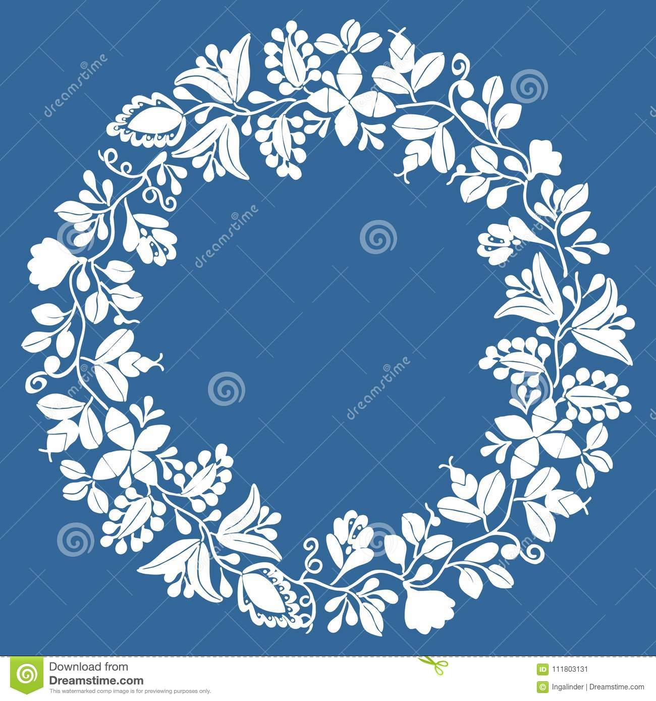 White wreath floral vector frame isolated on navy blue background