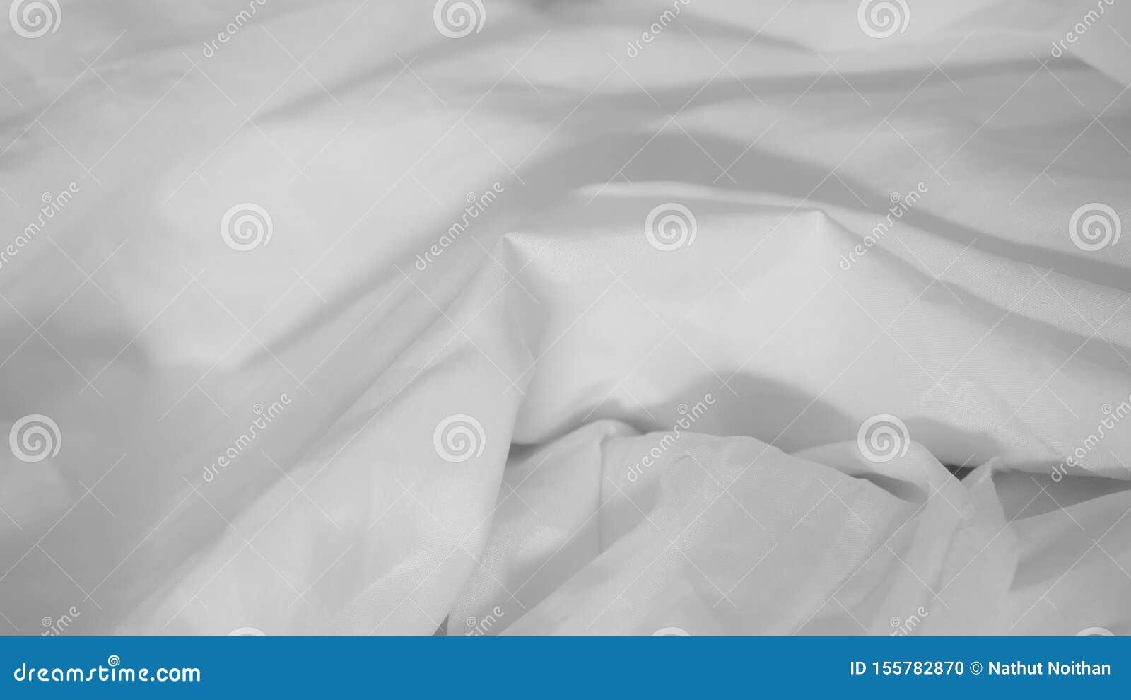 White wrinkled fabric background