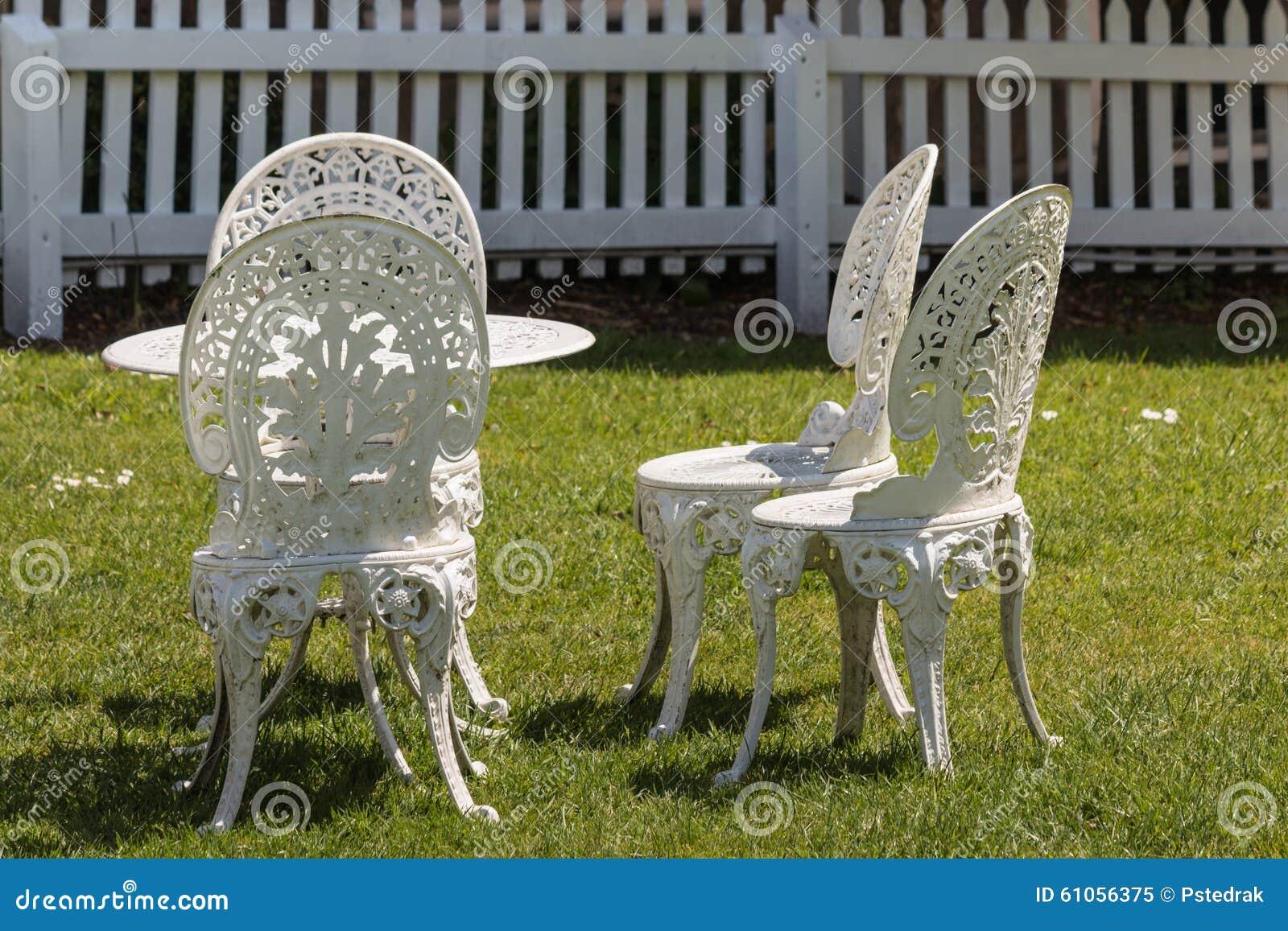 White Wrought Iron Garden Furniture Stock Image