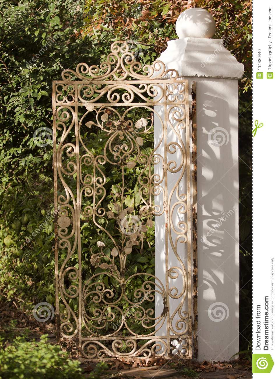 Wrought Iron Gate With White Wall In A Garden Stock Photo - Image of ...