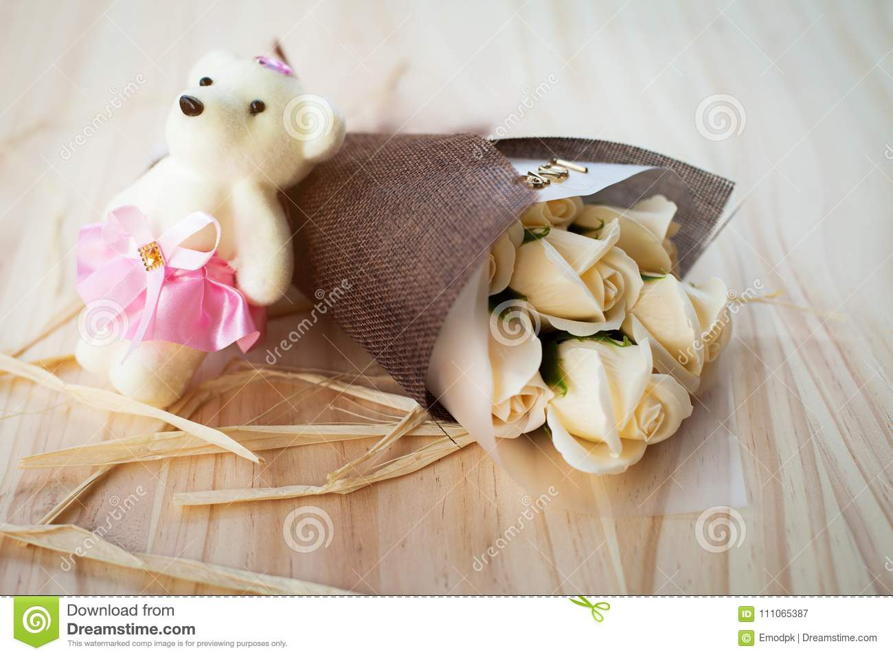 White Yellow Roses Flowers And Bear Doll With Valentine Festival