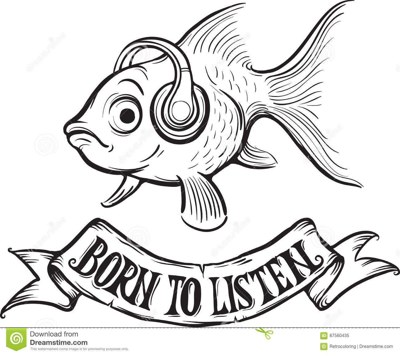 whiteboard drawing - born to listen goldfish stock vector