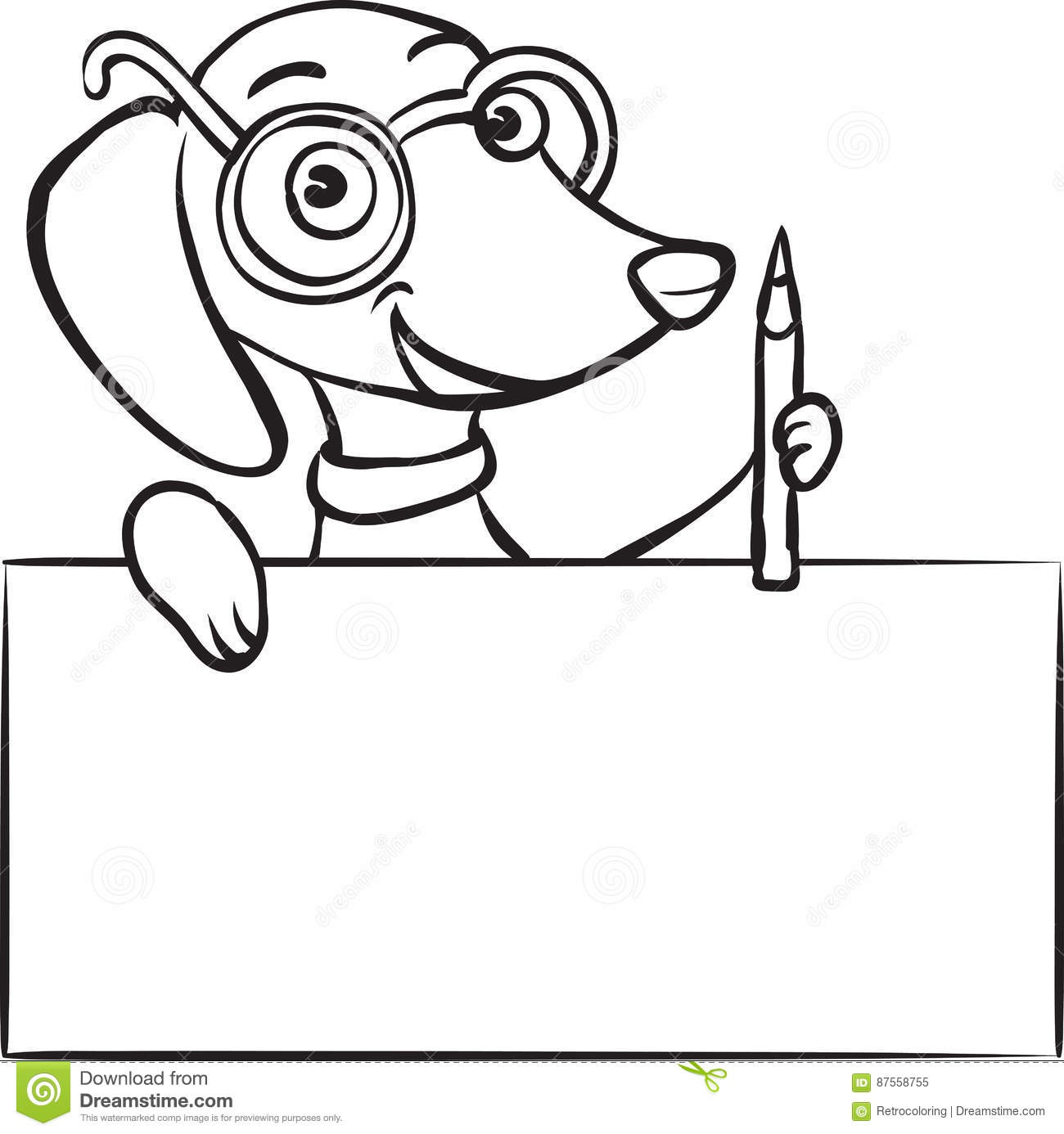 Whiteboard drawing cartoon dachshund dog with pencil and
