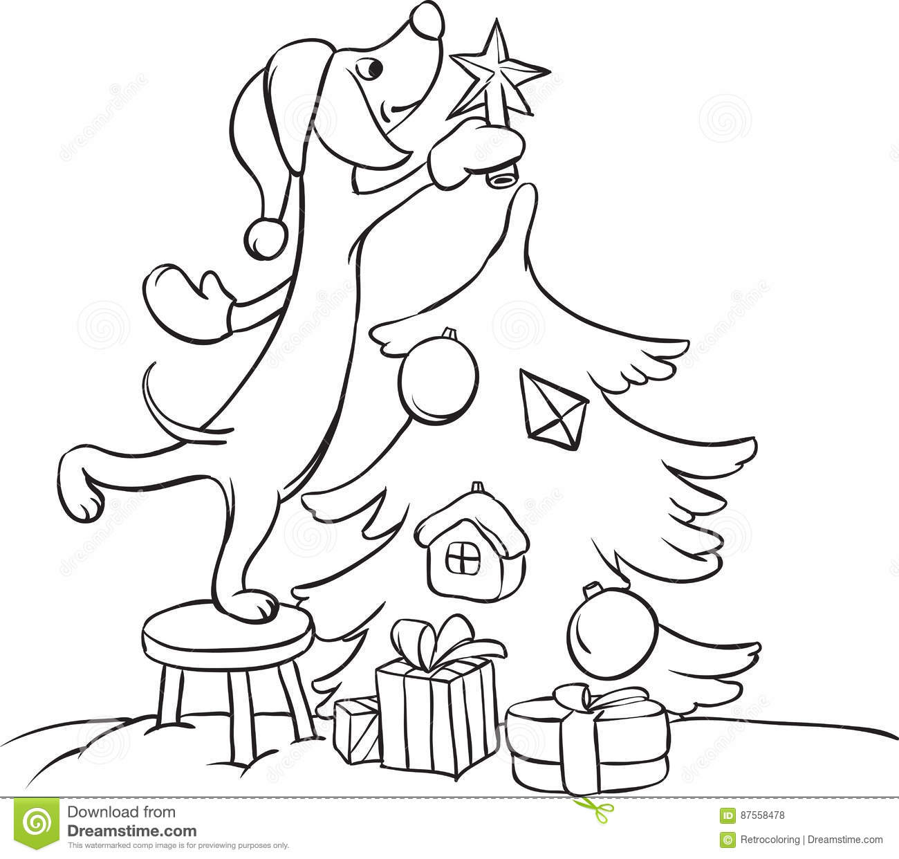 Whiteboard Drawing Cartoon Dog Arranging Christmas Tree Stock