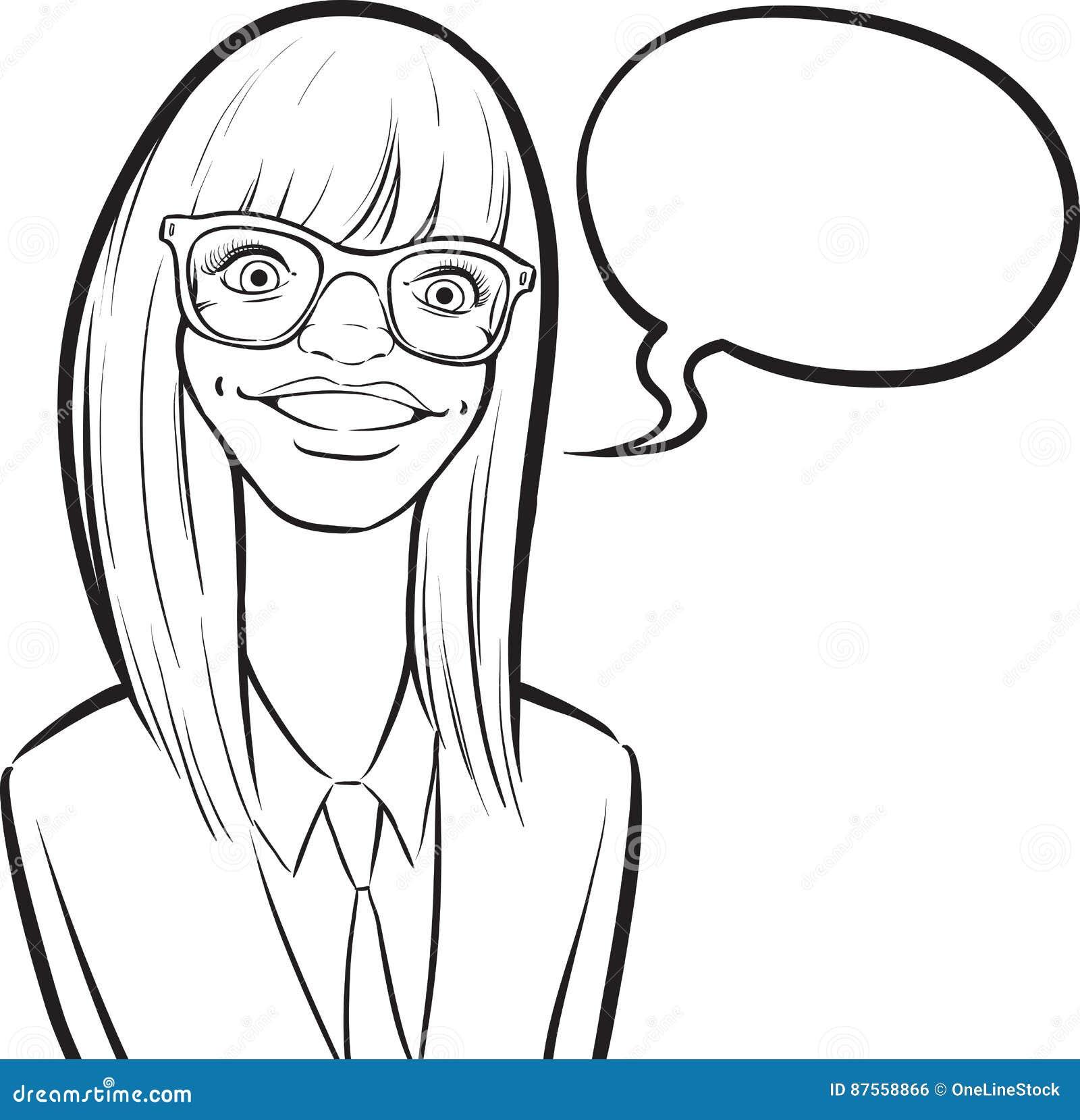 Whiteboard drawing cartoon smiling nerd girl in glasses