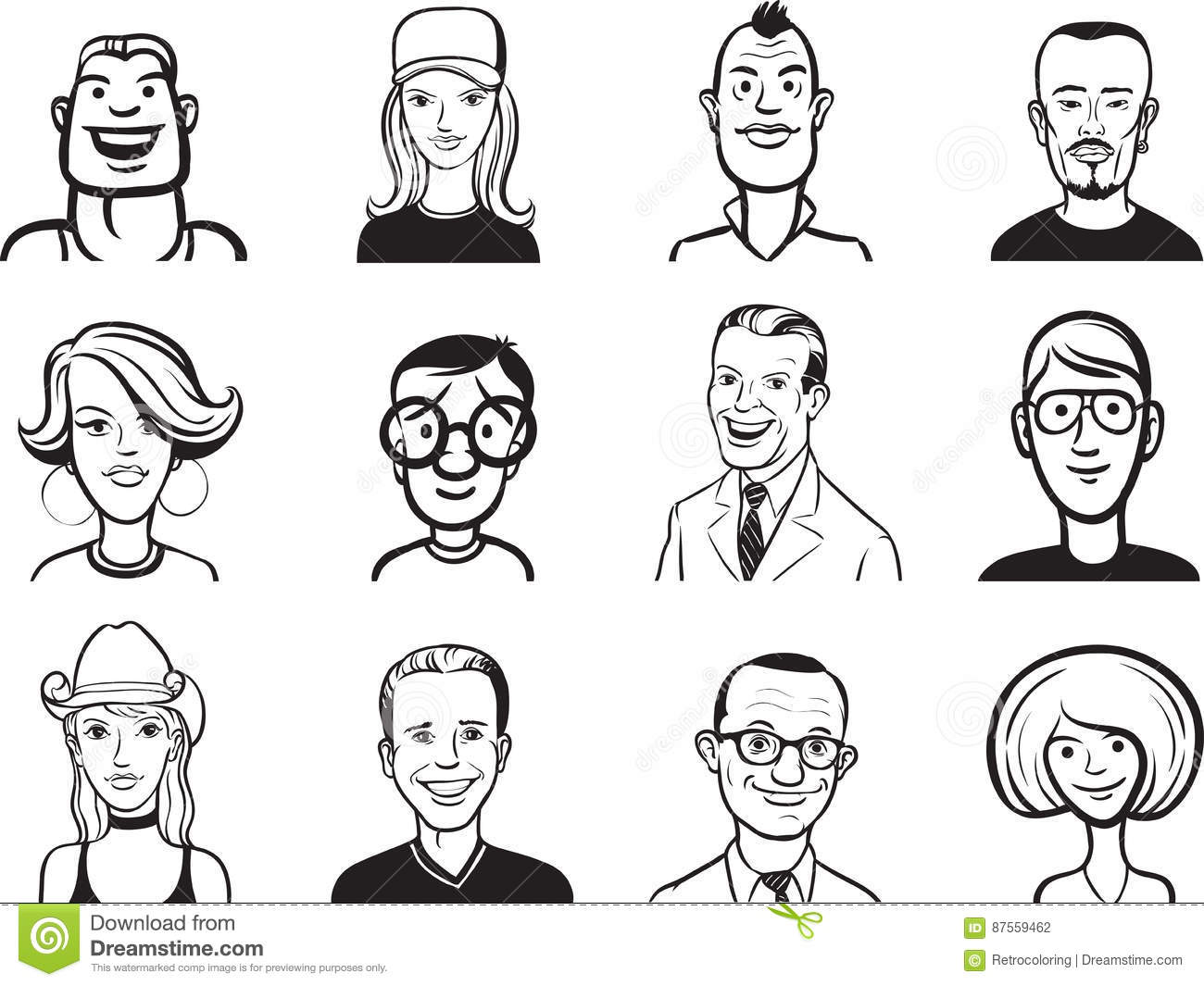 Line Drawings Of Facial Expressions : Drawing facial expressions guide sketch coloring page