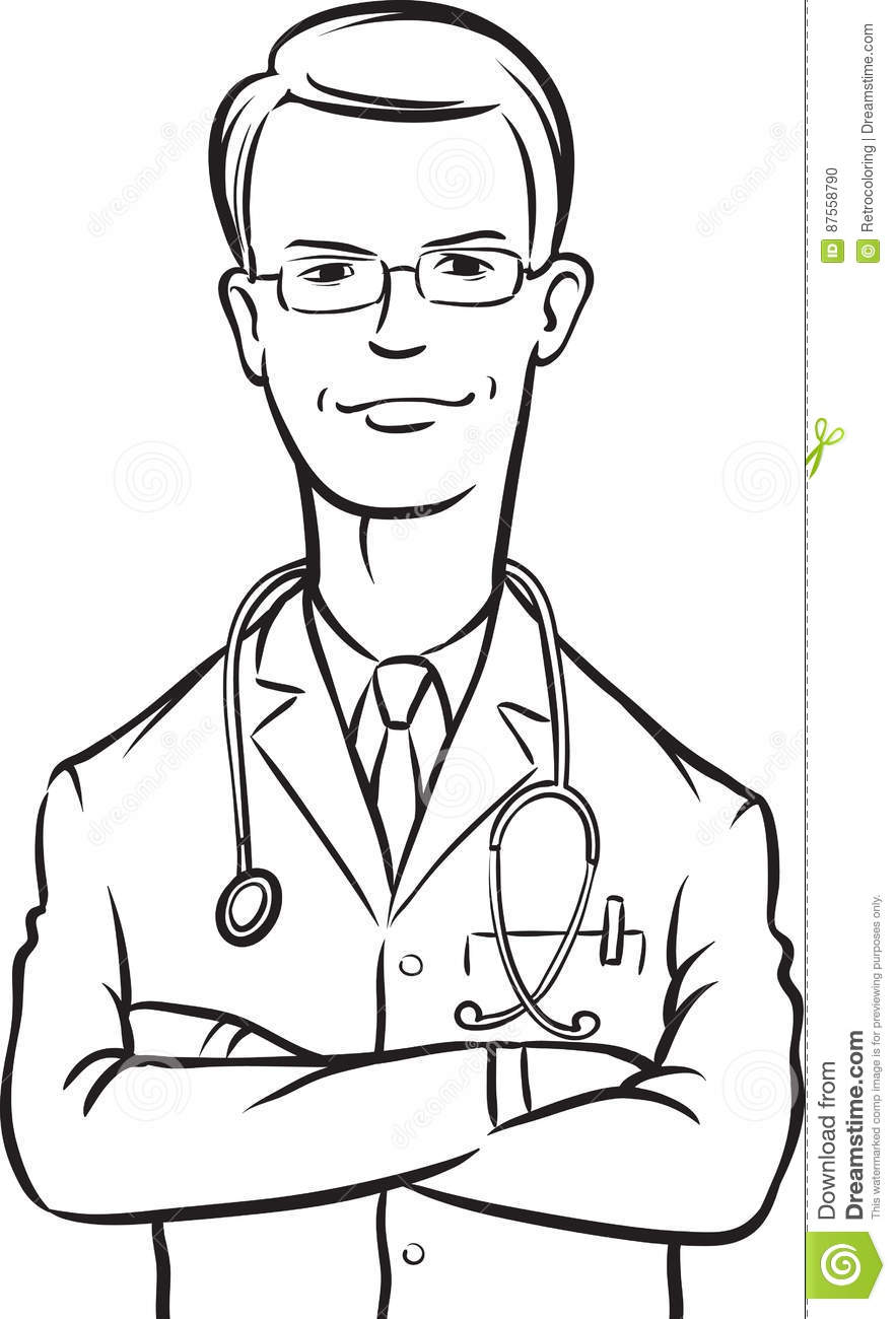 Line Drawing Of A Doctor : Whiteboard drawing doctor arms crossed stock vector