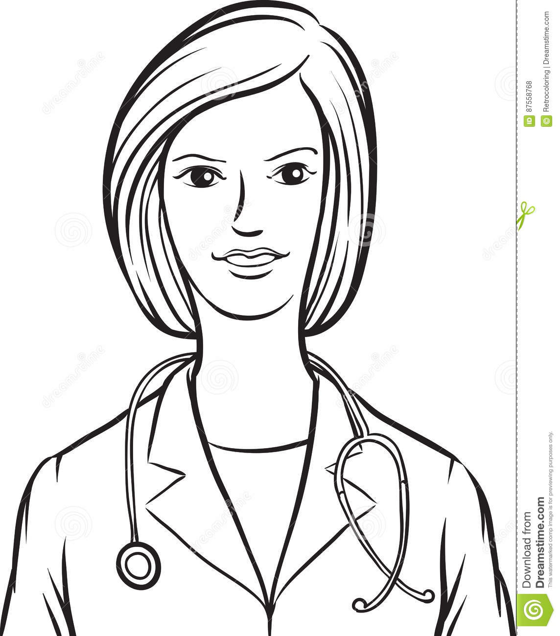 Line Drawing Of A Doctor : Whiteboard drawing doctor woman stock vector image