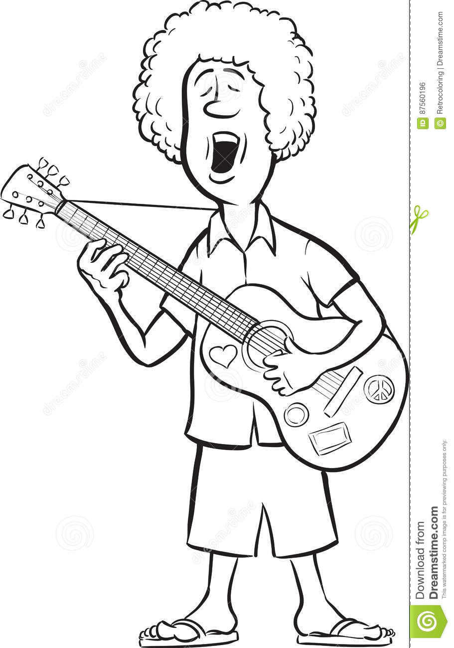 Whiteboard Drawing Man With Acoustic Guitar Singing Stock Vector