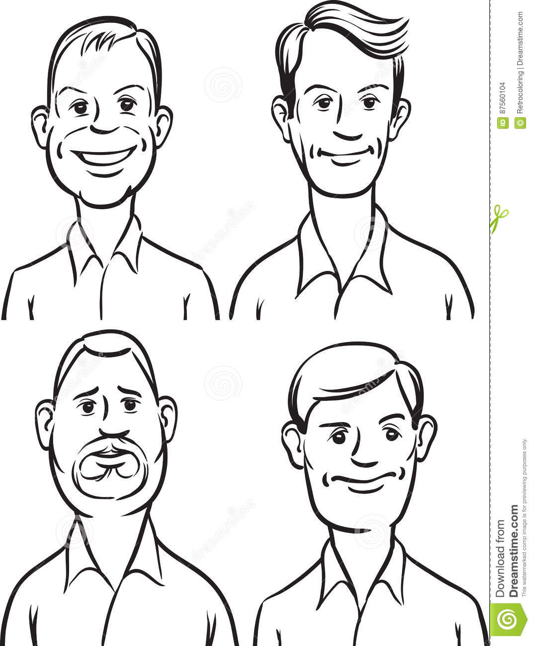 Whiteboard Drawing Men Cartoon Faces Stock Vector Illustration