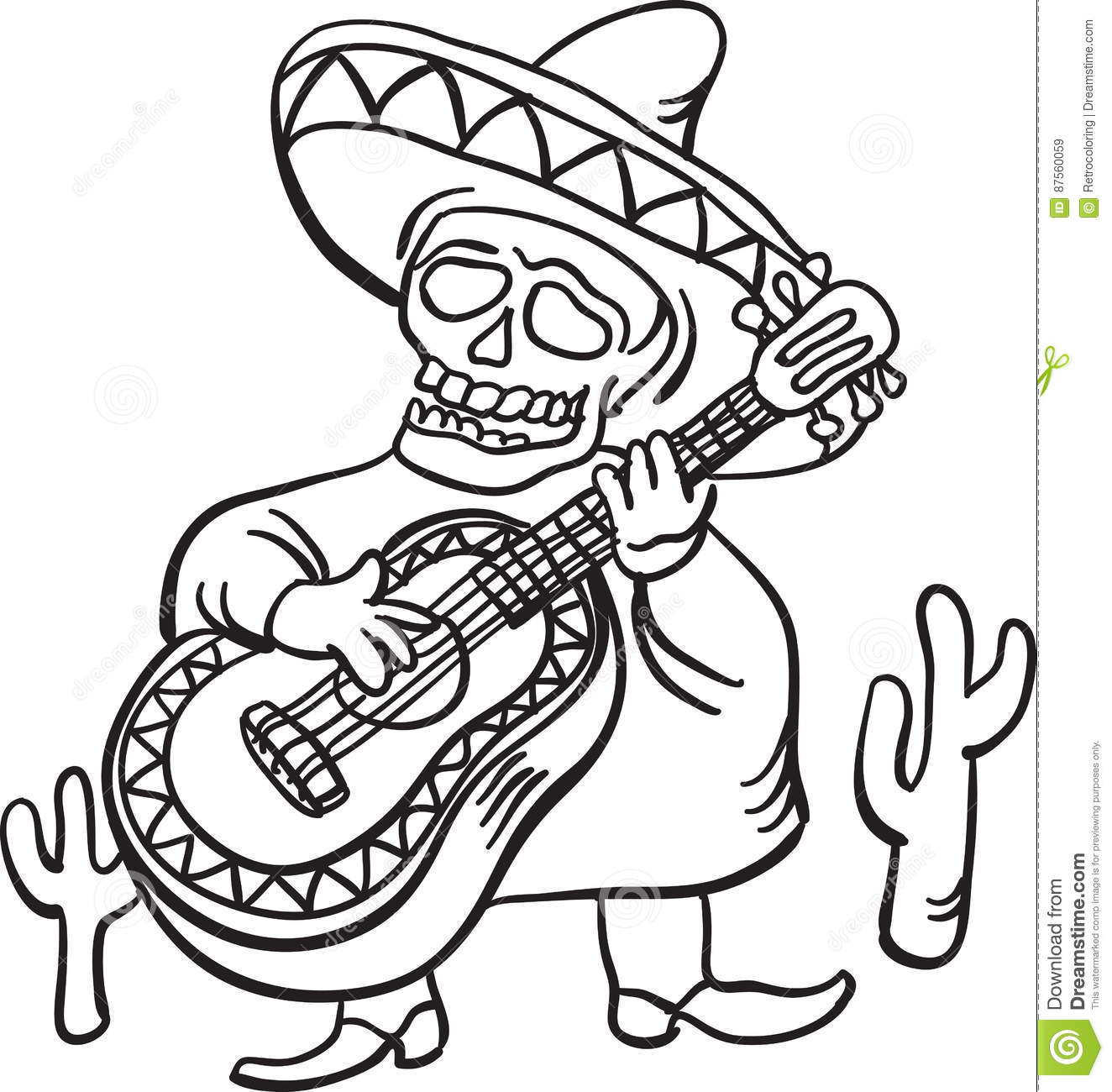 Whiteboard Drawing - Mexican Traditional Character With Guitar Stock ...