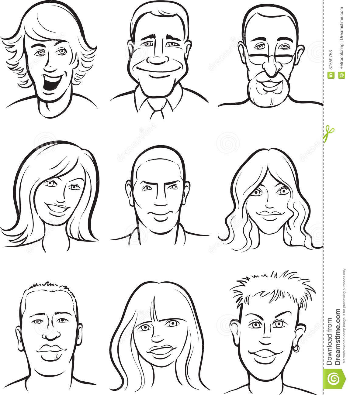 Whiteboard Drawing - People Faces Collection Stock Vector ...